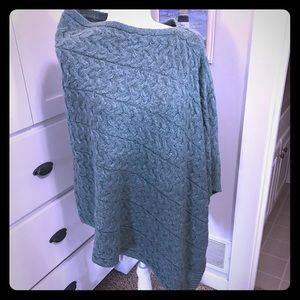 Asymmetrical sweater poncho